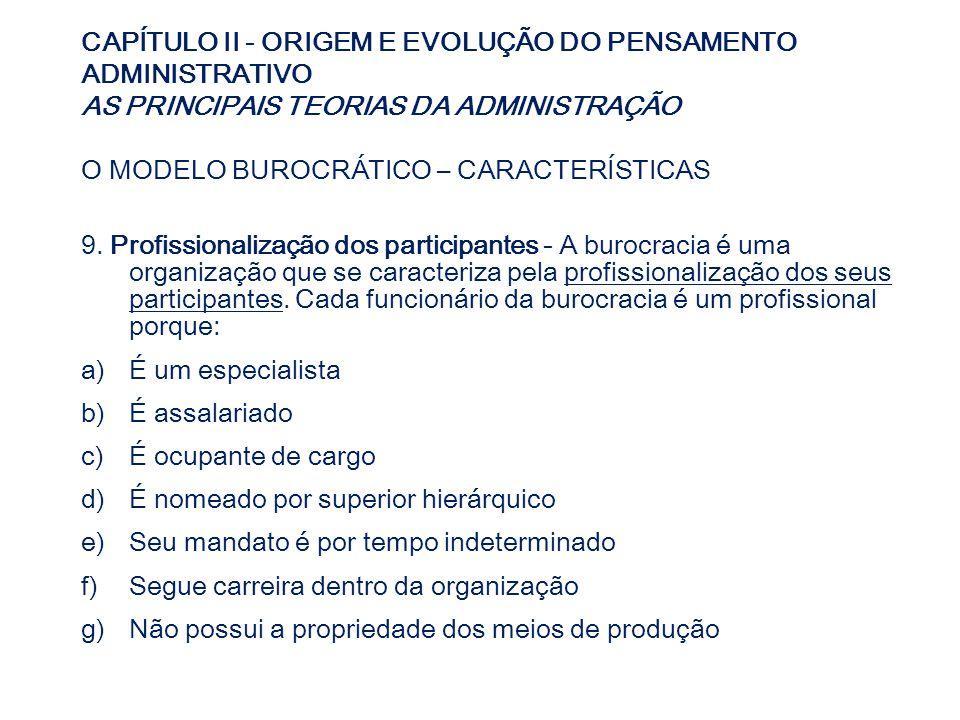 CAPÍTULO II - ORIGEM E EVOLUÇÃO DO PENSAMENTO ADMINISTRATIVO