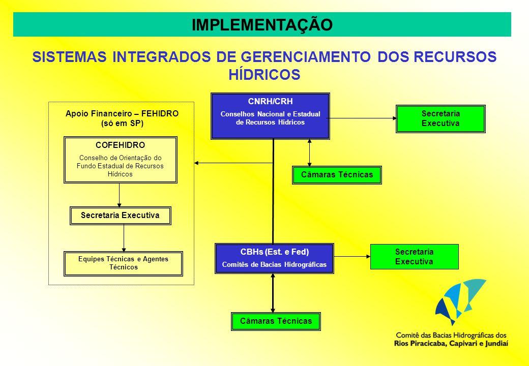 IMPLEMENTAÇÃO SISTEMAS INTEGRADOS DE GERENCIAMENTO DOS RECURSOS HÍDRICOS. CNRH/CRH. Conselhos Nacional e Estadual de Recursos Hídricos.