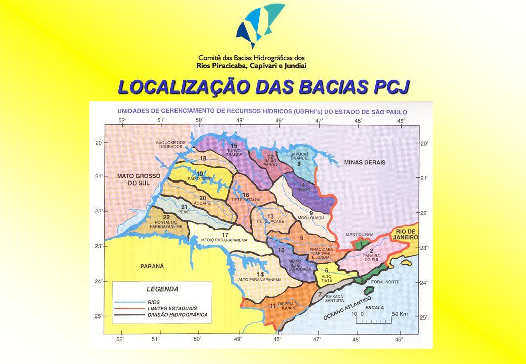 LOCALIZAÇÃO DAS BACIAS PCJ