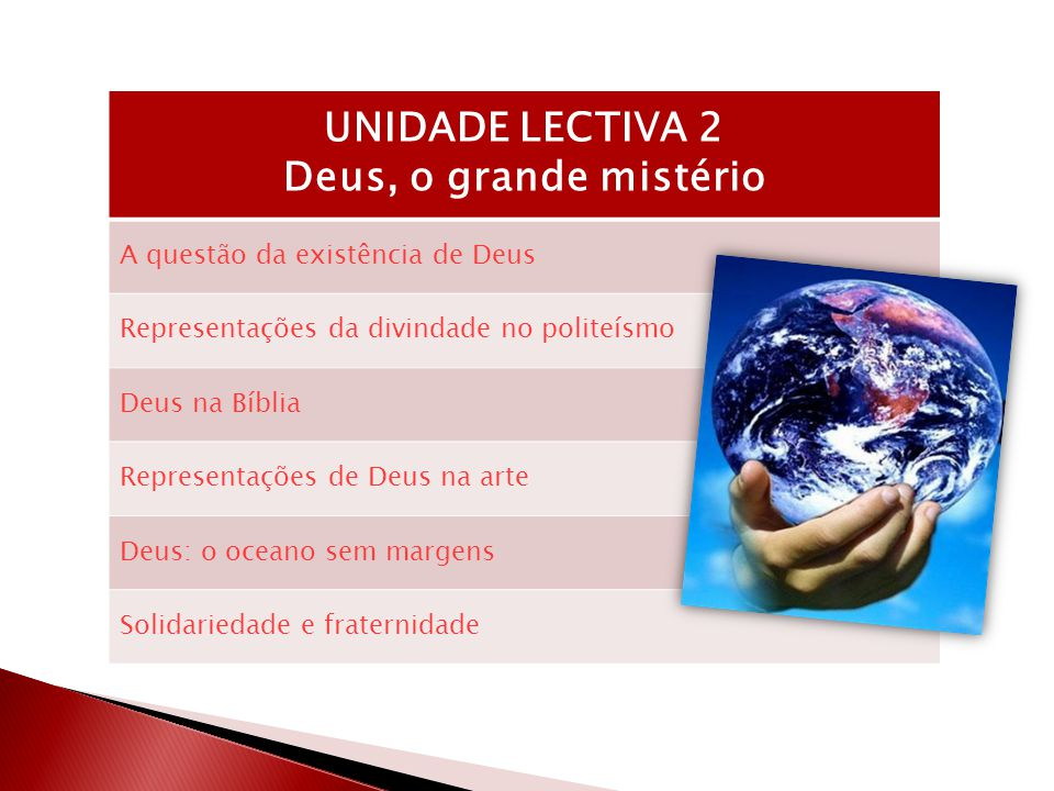 UNIDADE LECTIVA 2 Deus, o grande mistério