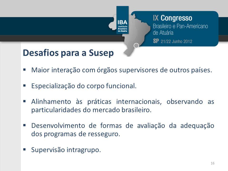 Desafios para a Susep Maior interação com órgãos supervisores de outros países. Especialização do corpo funcional.