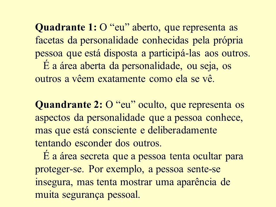 Quadrante 1: O eu aberto, que representa as facetas da personalidade conhecidas pela própria pessoa que está disposta a participá-las aos outros.
