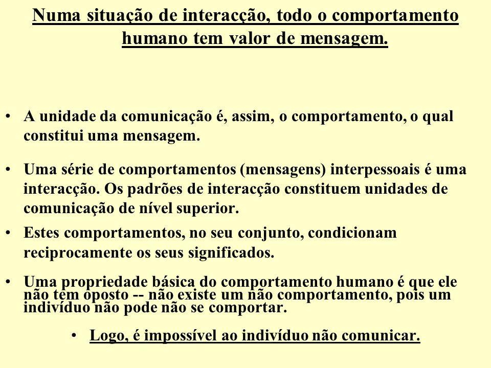 Logo, é impossível ao indivíduo não comunicar.