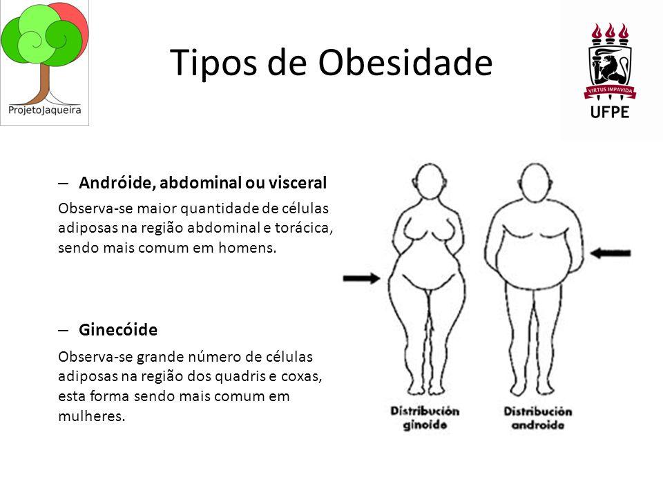 Tipos de Obesidade Andróide, abdominal ou visceral Ginecóide
