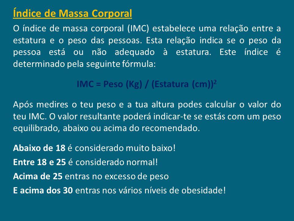 IMC = Peso (Kg) / (Estatura (cm))2