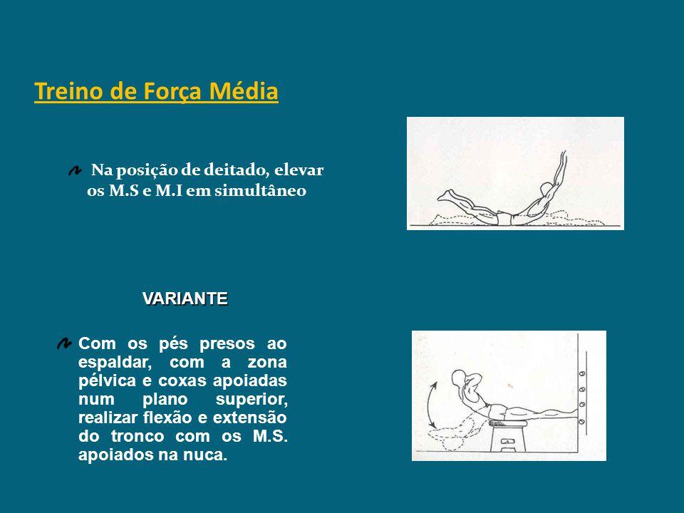 Treino de Força Média Na posição de deitado, elevar os M.S e M.I em simultâneo. VARIANTE.