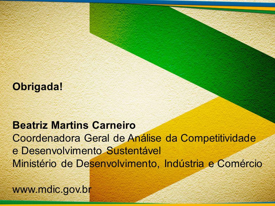 Obrigada! Beatriz Martins Carneiro Coordenadora Geral de Análise da Competitividade e Desenvolvimento Sustentável.