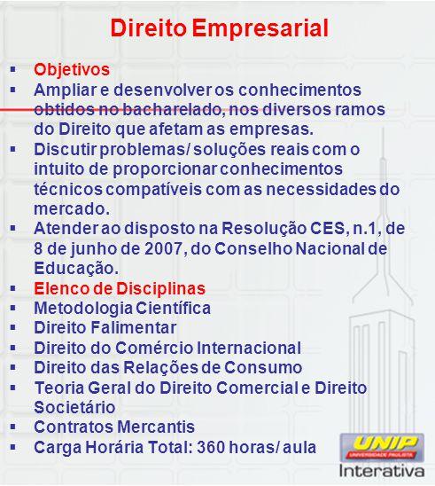 Direito Empresarial Objetivos
