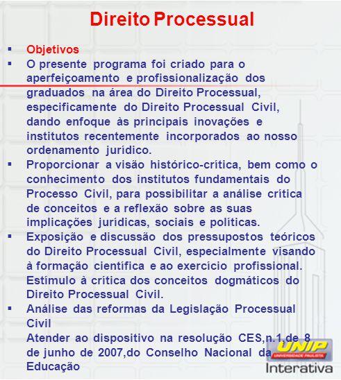 Direito Processual Objetivos