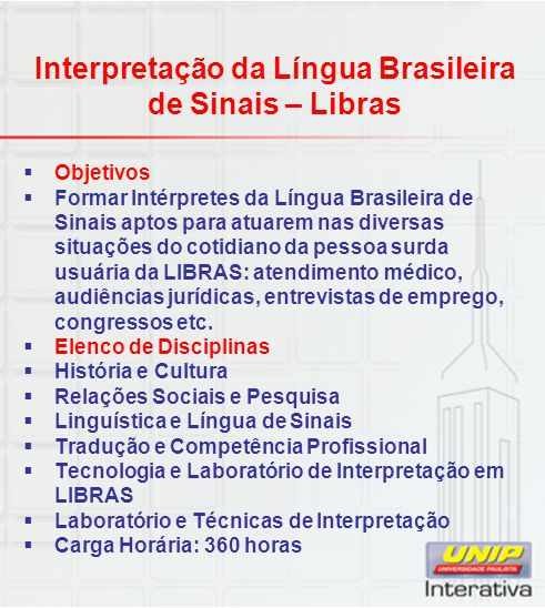 Interpretação da Língua Brasileira de Sinais – Libras