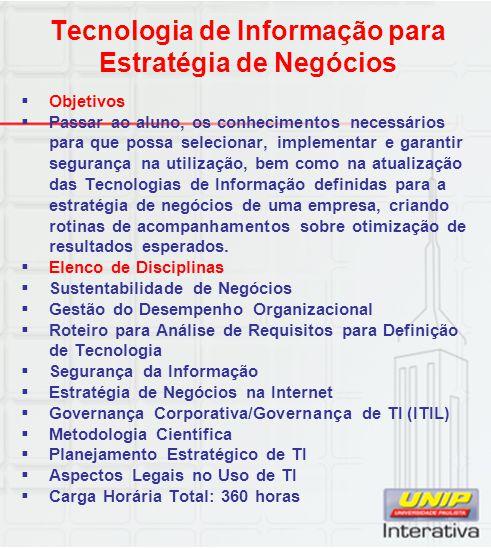 Tecnologia de Informação para Estratégia de Negócios