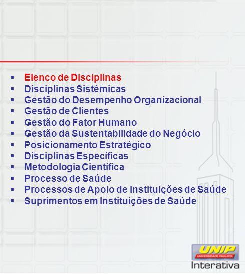 Elenco de Disciplinas Disciplinas Sistêmicas. Gestão do Desempenho Organizacional. Gestão de Clientes.