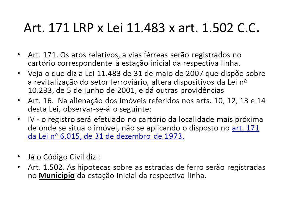 Art. 171 LRP x Lei 11.483 x art. 1.502 C.C.