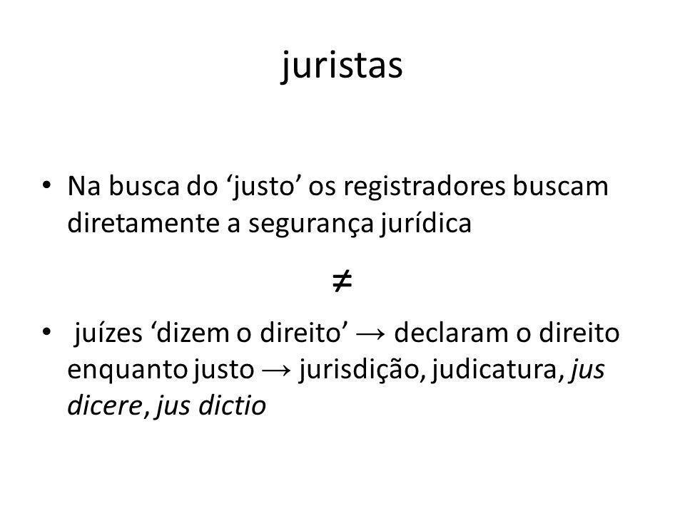 juristas Na busca do 'justo' os registradores buscam diretamente a segurança jurídica. ≠