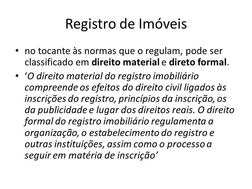 Registro de Imóveis no tocante às normas que o regulam, pode ser classificado em direito material e direto formal.