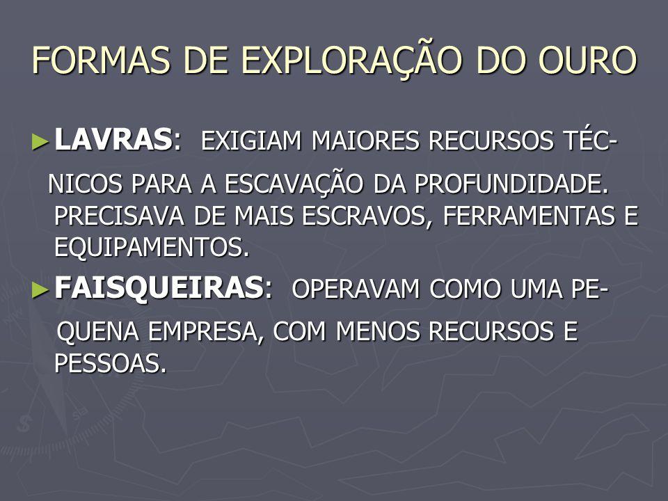 FORMAS DE EXPLORAÇÃO DO OURO