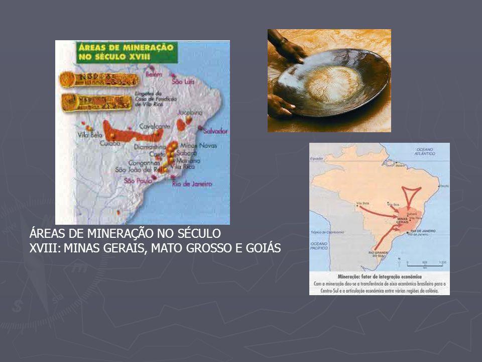 ÁREAS DE MINERAÇÃO NO SÉCULO XVIII: