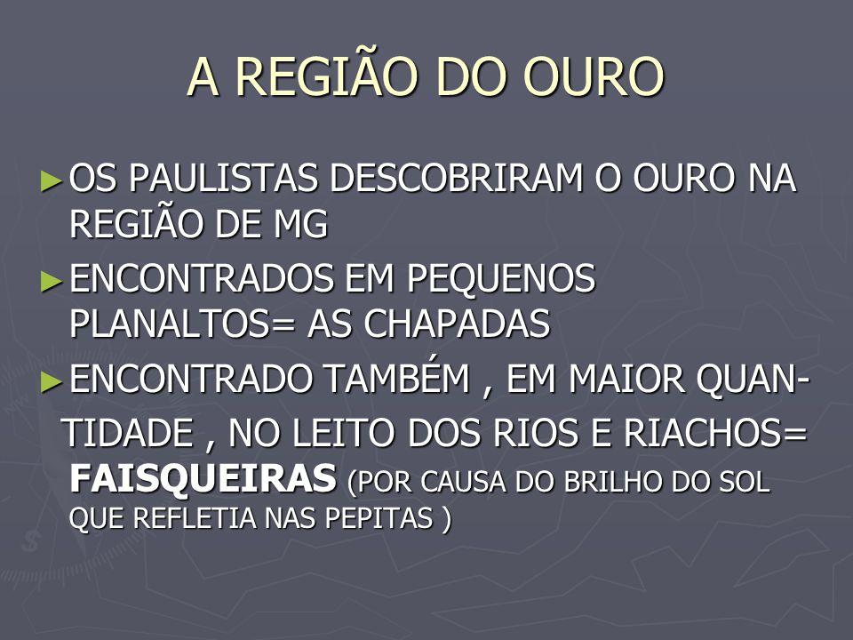 A REGIÃO DO OURO OS PAULISTAS DESCOBRIRAM O OURO NA REGIÃO DE MG