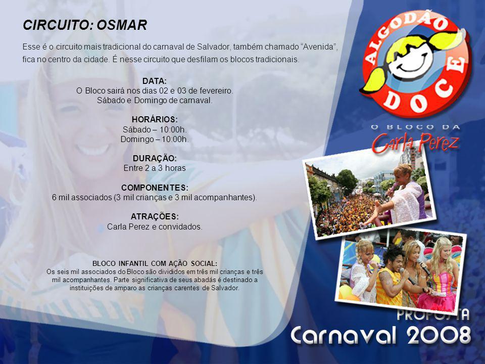CIRCUITO: OSMAR Esse é o circuito mais tradicional do carnaval de Salvador, também chamado Avenida , fica no centro da cidade. É nesse circuito que desfilam os blocos tradicionais.
