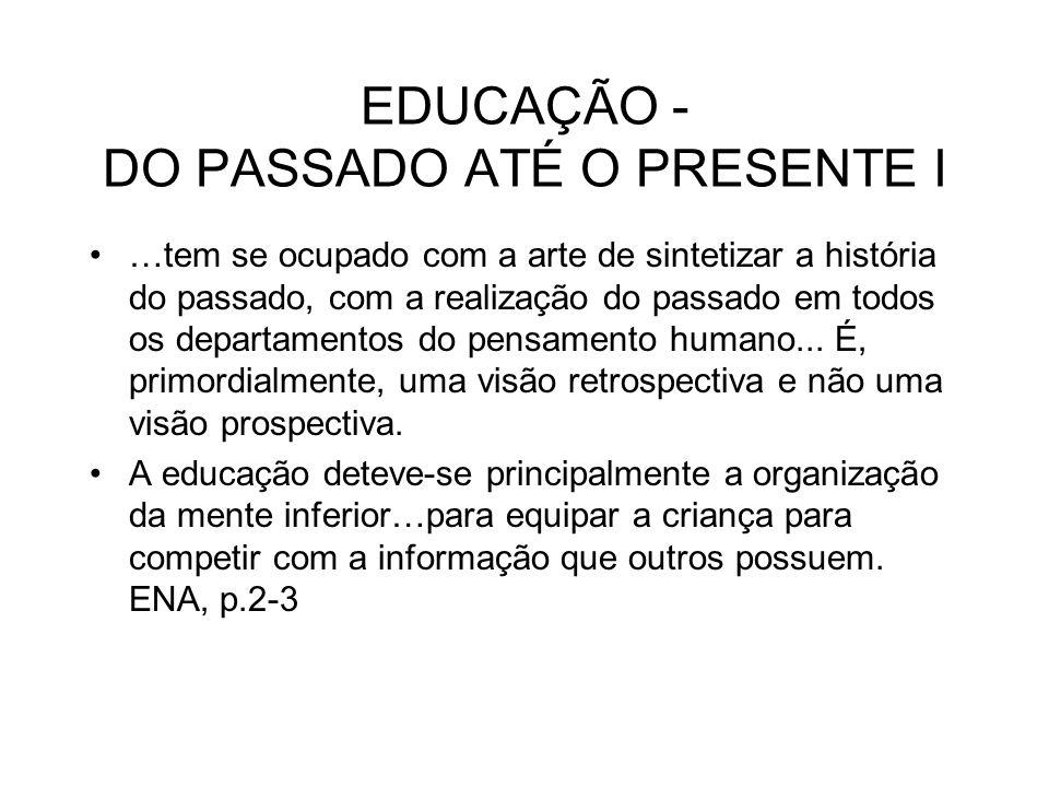 EDUCAÇÃO - DO PASSADO ATÉ O PRESENTE I