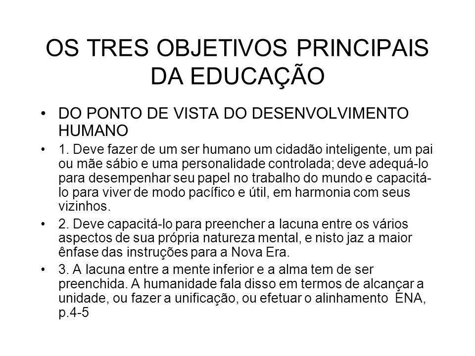 OS TRES OBJETIVOS PRINCIPAIS DA EDUCAÇÃO