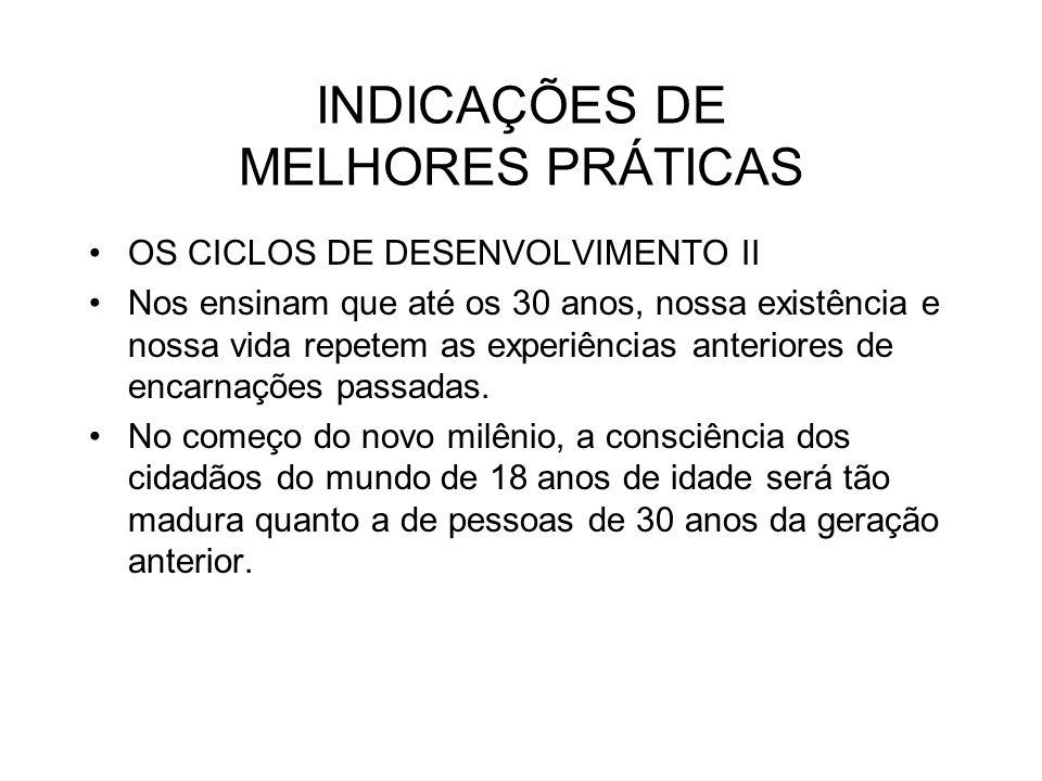 INDICAÇÕES DE MELHORES PRÁTICAS