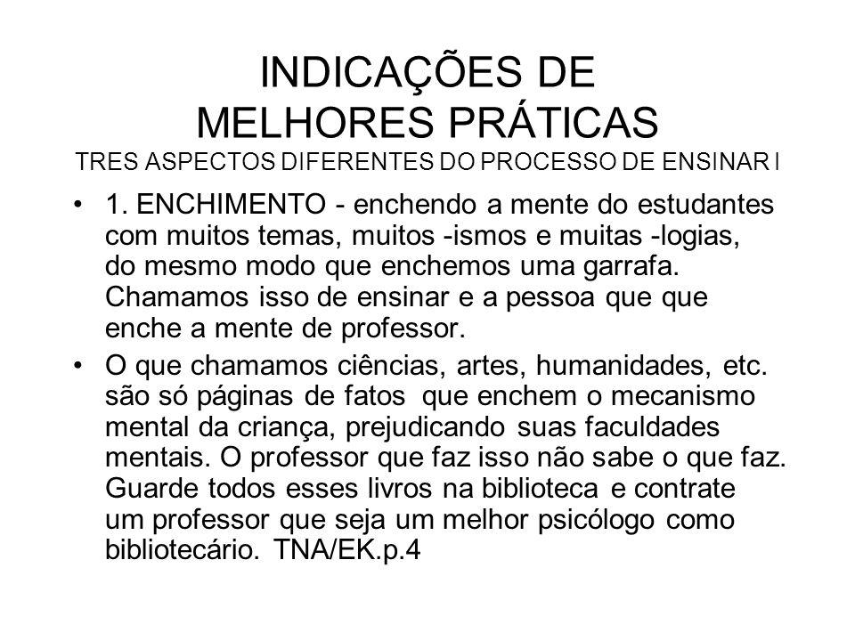 INDICAÇÕES DE MELHORES PRÁTICAS TRES ASPECTOS DIFERENTES DO PROCESSO DE ENSINAR I