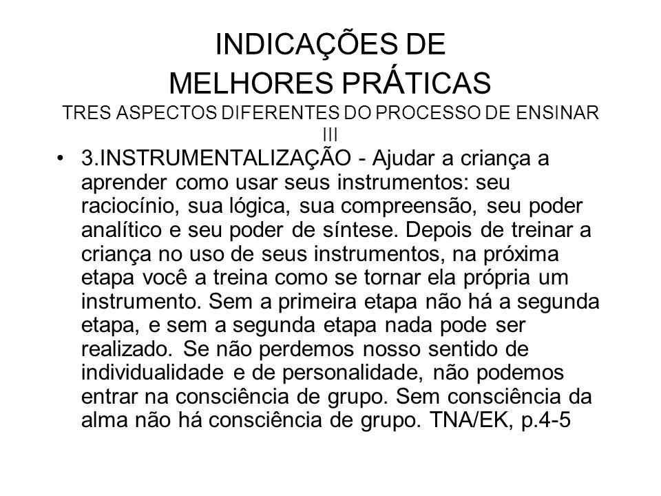 INDICAÇÕES DE MELHORES PRÁTICAS TRES ASPECTOS DIFERENTES DO PROCESSO DE ENSINAR III