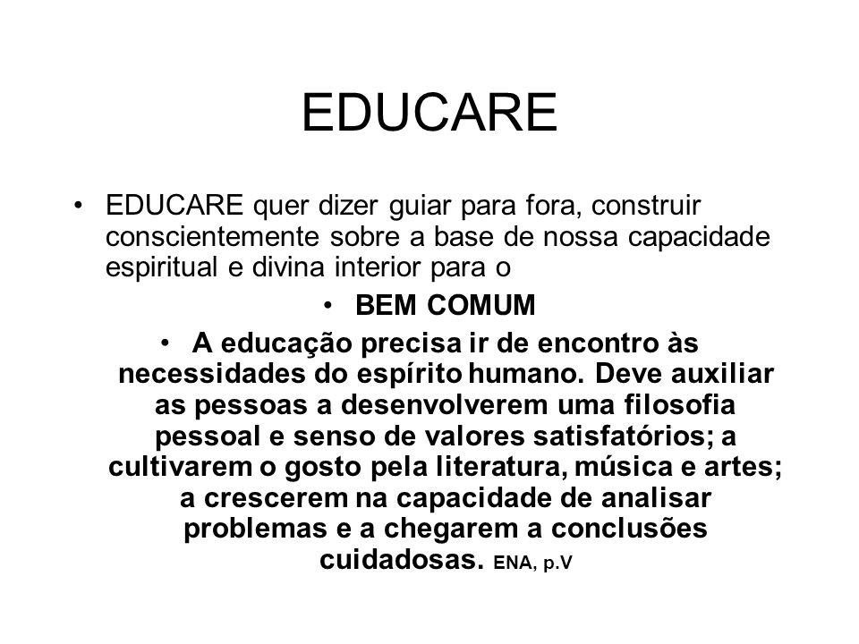 EDUCARE EDUCARE quer dizer guiar para fora, construir conscientemente sobre a base de nossa capacidade espiritual e divina interior para o.