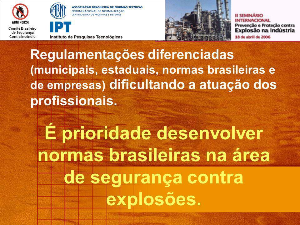 Regulamentações diferenciadas (municipais, estaduais, normas brasileiras e de empresas) dificultando a atuação dos profissionais.