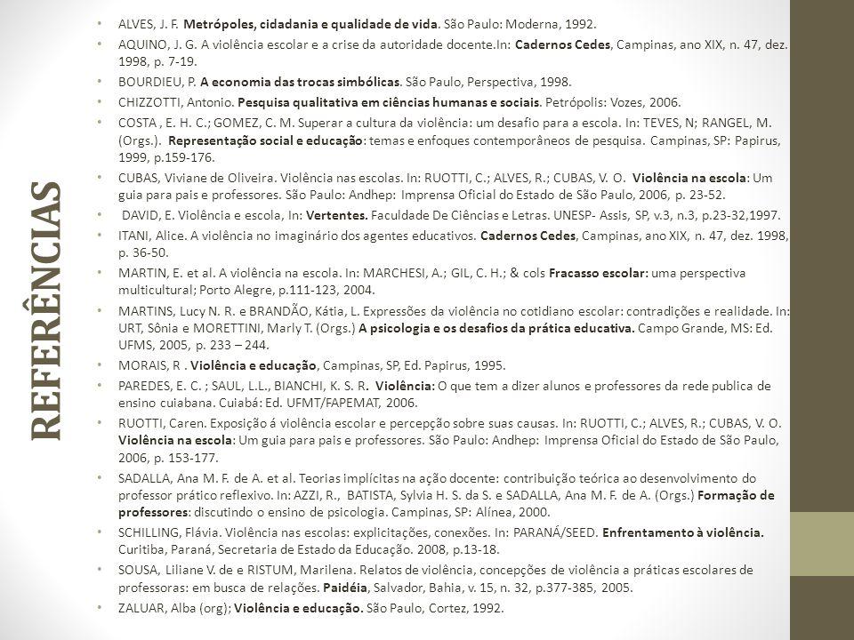 ALVES, J. F. Metrópoles, cidadania e qualidade de vida