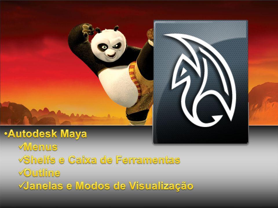 Autodesk Maya Menus Shelfs e Caixa de Ferramentas Outline Janelas e Modos de Visualização