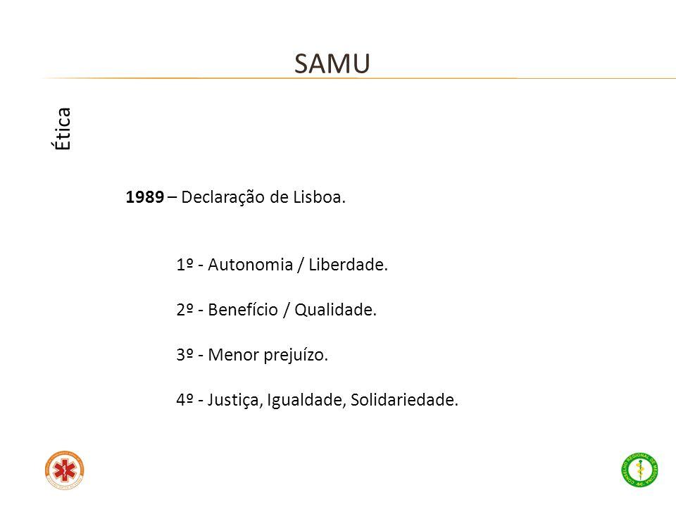 SAMU Ética 1989 – Declaração de Lisboa. 1º - Autonomia / Liberdade.