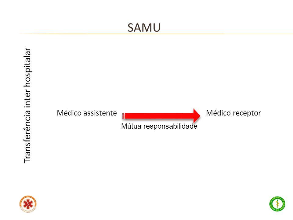 SAMU Transferência inter hospitalar Médico assistente Médico receptor