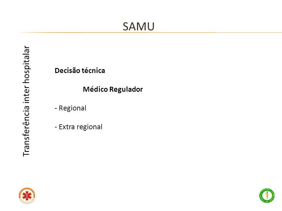 SAMU Transferência inter hospitalar Decisão técnica Médico Regulador