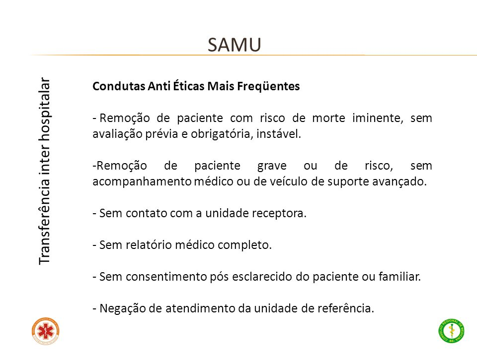 SAMU Transferência inter hospitalar