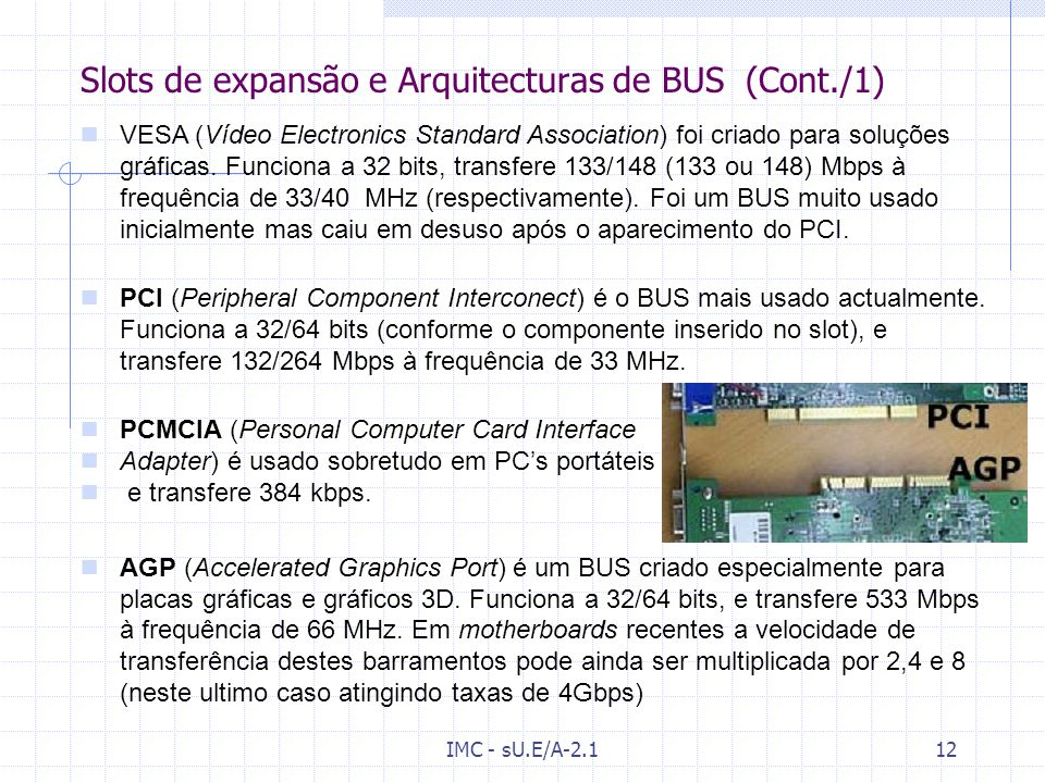 Slots de expansão e Arquitecturas de BUS (Cont./1)