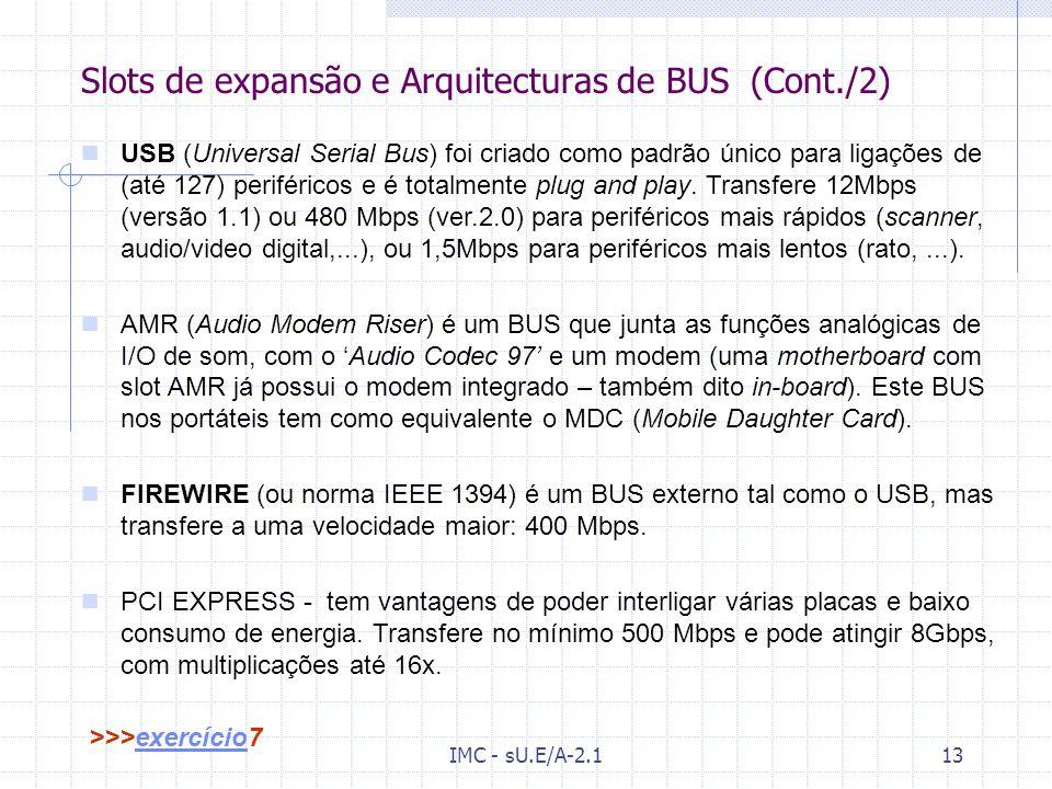 Slots de expansão e Arquitecturas de BUS (Cont./2)