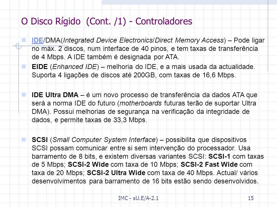 O Disco Rígido (Cont. /1) - Controladores