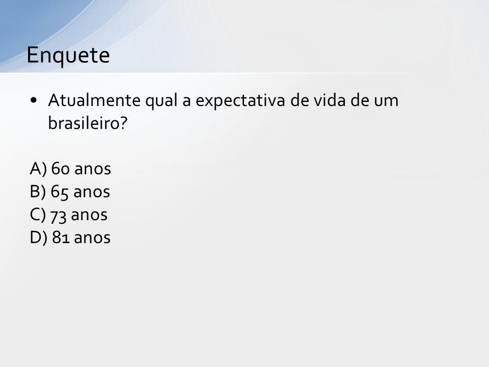 Enquete Atualmente qual a expectativa de vida de um brasileiro