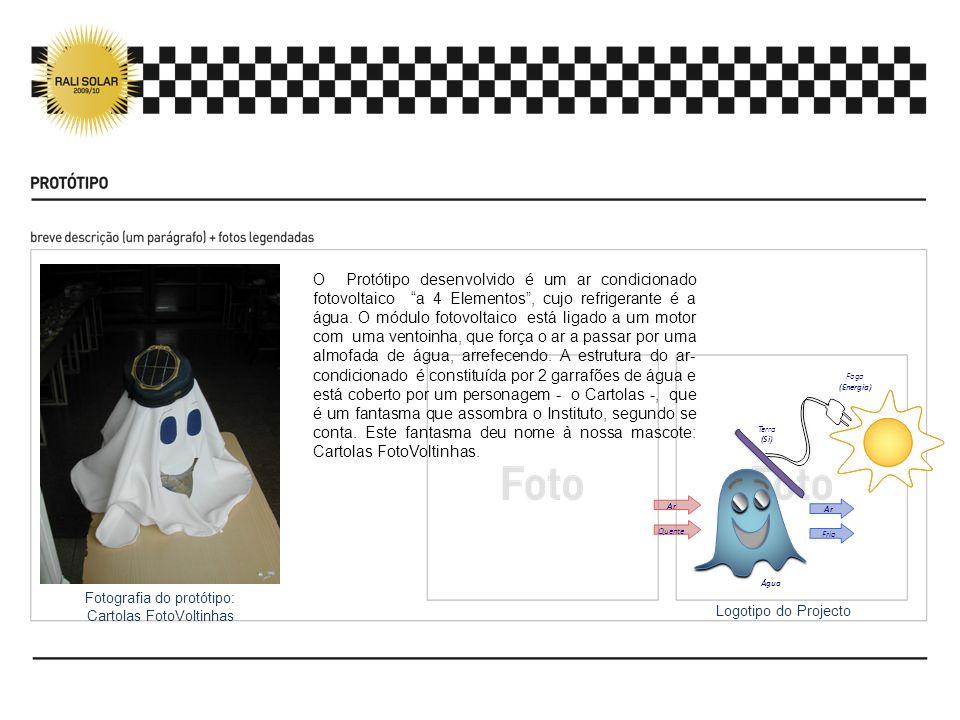 O Protótipo desenvolvido é um ar condicionado fotovoltaico a 4 Elementos , cujo refrigerante é a água. O módulo fotovoltaico está ligado a um motor com uma ventoinha, que força o ar a passar por uma almofada de água, arrefecendo. A estrutura do ar-condicionado é constituída por 2 garrafões de água e está coberto por um personagem - o Cartolas -, que é um fantasma que assombra o Instituto, segundo se conta. Este fantasma deu nome à nossa mascote: Cartolas FotoVoltinhas.