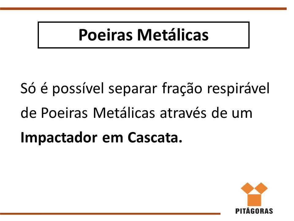 Poeiras Metálicas Só é possível separar fração respirável de Poeiras Metálicas através de um Impactador em Cascata.