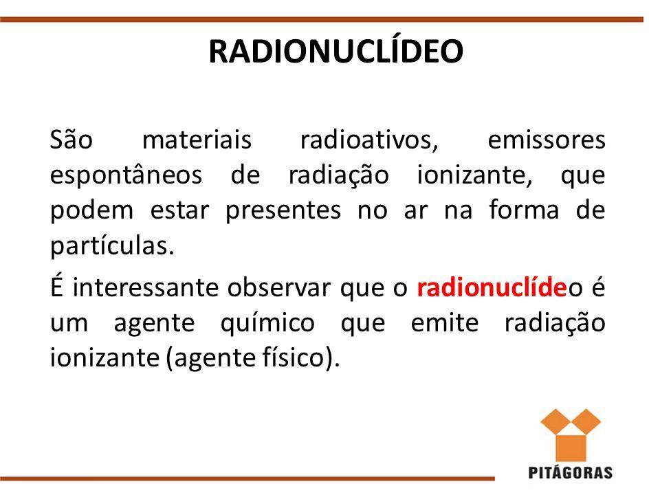 RADIONUCLÍDEO São materiais radioativos, emissores espontâneos de radiação ionizante, que podem estar presentes no ar na forma de partículas.