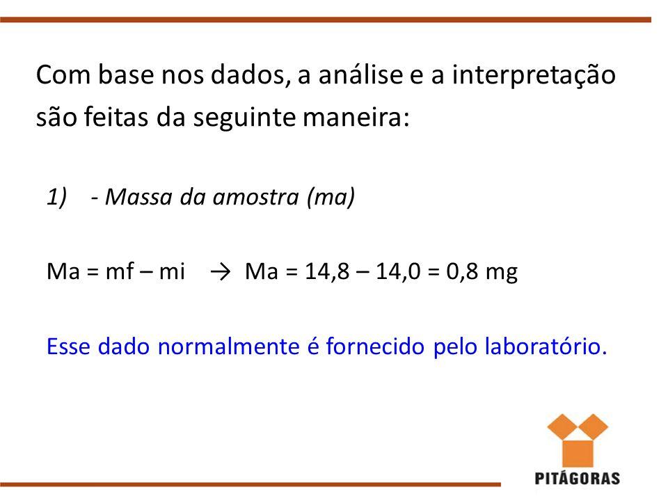 Com base nos dados, a análise e a interpretação são feitas da seguinte maneira:
