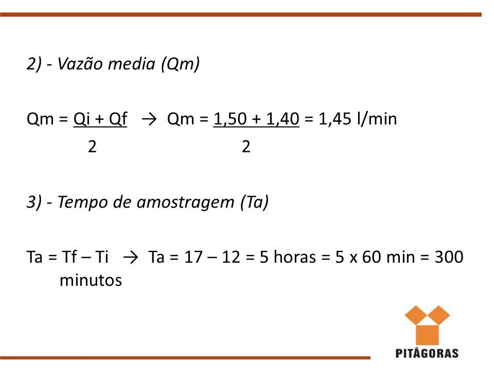 2) - Vazão media (Qm) Qm = Qi + Qf → Qm = 1,50 + 1,40 = 1,45 l/min. 2 2.