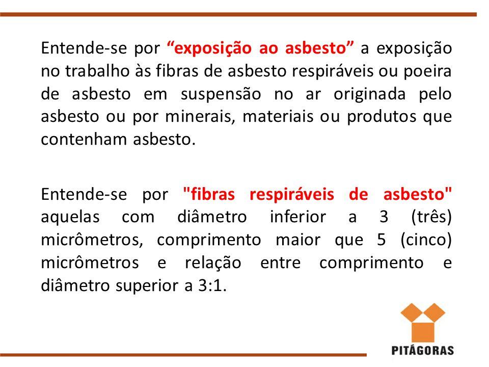 Entende-se por exposição ao asbesto a exposição no trabalho às fibras de asbesto respiráveis ou poeira de asbesto em suspensão no ar originada pelo asbesto ou por minerais, materiais ou produtos que contenham asbesto.