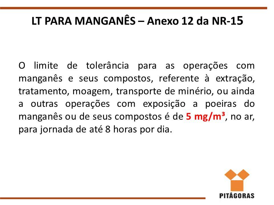 LT PARA MANGANÊS – Anexo 12 da NR-15