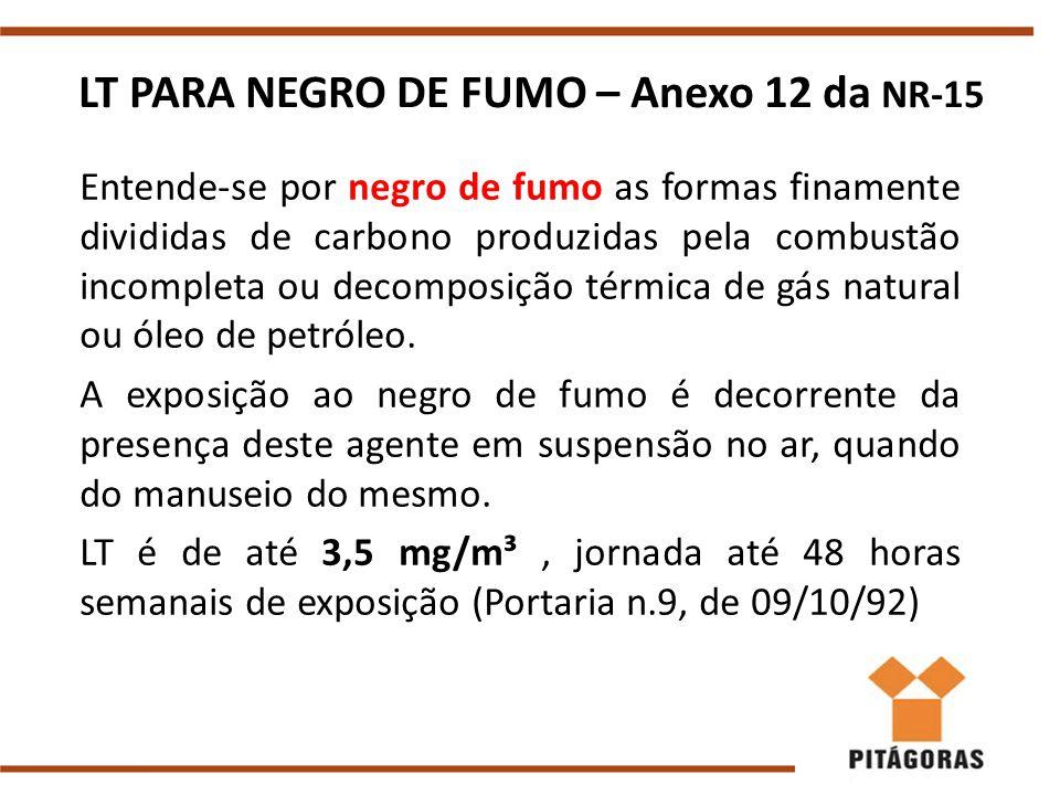 LT PARA NEGRO DE FUMO – Anexo 12 da NR-15