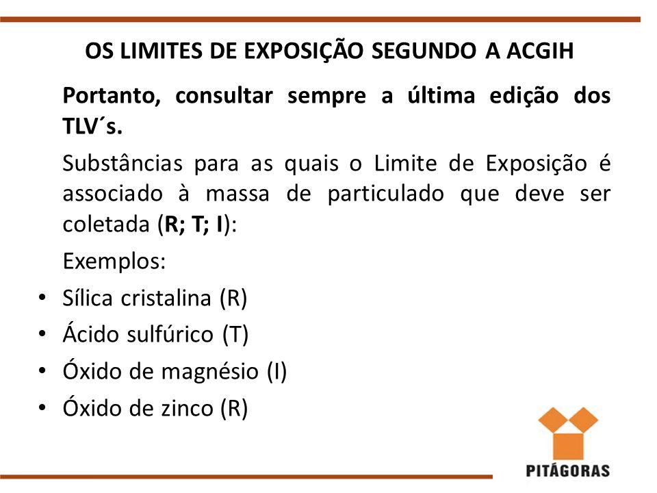 OS LIMITES DE EXPOSIÇÃO SEGUNDO A ACGIH