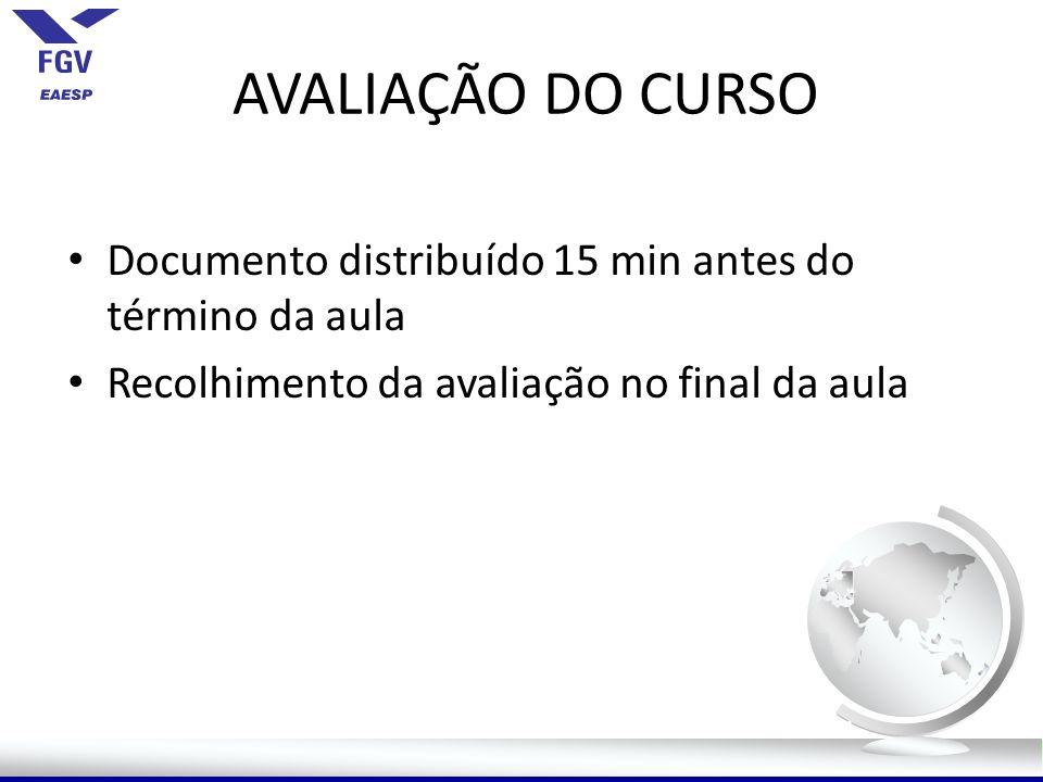 AVALIAÇÃO DO CURSO Documento distribuído 15 min antes do término da aula.
